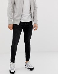 Bershka Join Life Super Skinny Jeans With Knee Rip In Black