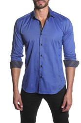 Jared Lang Long Sleeve Contrast Trim Semi Fitted Shirt Blue