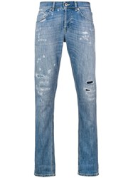 Dondup Distressed Stonewashed Jeans Blue