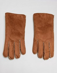 7X Faux Suede Shearling Gloves In Tan