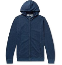 Blue Blue Japan Indigo Dyed Loopback Cotton Jersey Zip Up Hoodie Blue