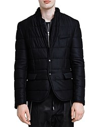 The Kooples Melange Flannel Jacket Black