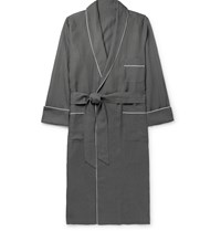 Anderson And Sheppard Piped Linen Robe Gray