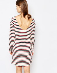 Sams0e And Sams0e Samsoe And Samsoe Damas Jersey Dress In Stripe Breton Beet
