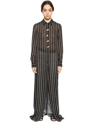 Lanvin Striped Silk Georgette Long Shirt Dress