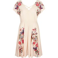River Island Light Pink Floral Embroidered Dress