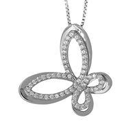 Jools By Jenny Brown Sterling Silver Heart Pave Butterfly Pendant Rhodium