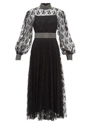 Christopher Kane Crystal Embellished Floral Lace Dress Black