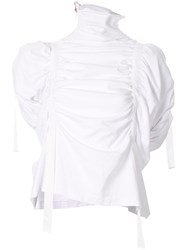 Aganovich High Neck Gathered Top White