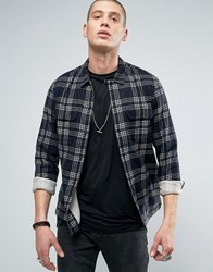 Allsaints Checked Shirt In Slim Fit Ink Blue