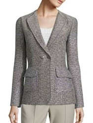 St. John Metallic Tweed Jacket Navy Safari Multi