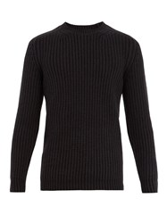 Iris Von Arnim Crew Neck Ribbed Sweater Navy