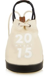 Marni Ruck Leather Trimmed Canvas Bucket Bag Ecru