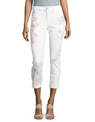 Buffalo David Bitton Embroidered Hi Rise Cropped Jeans White