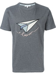 Carven Embroidered Paper Plane T Shirt Grey