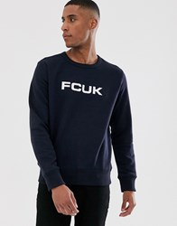 French Connection Fcuk Logo Crew Neck Sweat Navy