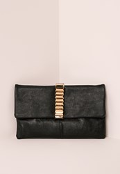 Missguided Gold Hardware Trim Clutch Bag Black Black