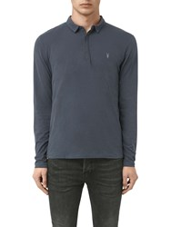 Allsaints Brace Long Sleeve Polo Shirt Petrol Blue