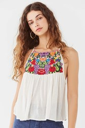 Urban Outfitters Uo Grapes High Neck Tank Top Ivory Multi