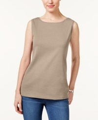 Karen Scott Boat Neck Tank Top Only At Macy's Almond Khaki