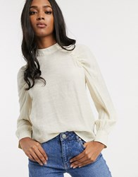 Vero Moda Blouse With Ruched Volume Sleeve Cream