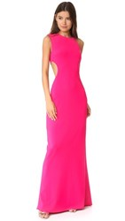 Halston Heritage Asymmetrical Gown With Back Cutout Fuchsia Rose
