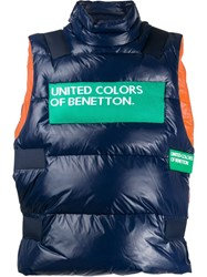United Colors Of Benetton Feather Down Logo Gilet Blue