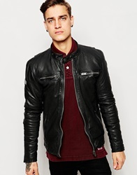 Superdry Leather Biker Jacket Black
