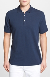 Robert Graham 'Cliff Dive' Slub Cotton Pique Polo Navy
