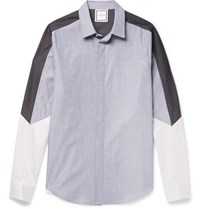 Wooyoungmi Panelled Cotton Shirt Blue