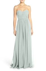 Women's Jenny Yoo 'Mira' Convertible Strapless Pleat Chiffon Gown Morning Mist