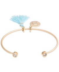 Lonna And Lilly Gold Tone Evil Eye And Tassel Charm Cuff Bracelet