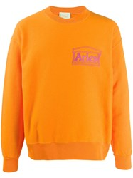 Aries Temple Print Sweatshirt Orange