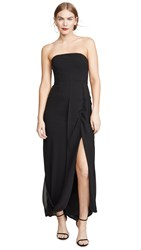 Halston Strapless Draped Back Georgette Gown Black