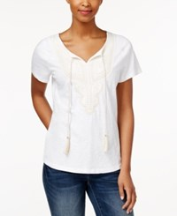 Charter Club Short Sleeve Solid Top Only At Macy's Bright White