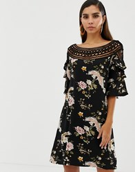 Liquorish Floral Shift Dress With Lace Cutout Detail And Fluted Sleeves Multi