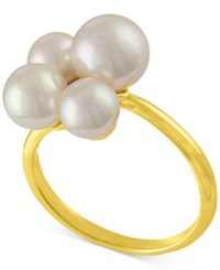 Majorica Gold Tone Stainless Steel Imitation Pearl Cluster Ring