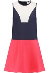 Tanya Taylor Kit Color Block Textured Crepe Mini Dress Navy