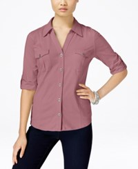 Styleandco. Style Co. Petite Jersey Utility Shirt Only At Macy's Pinkberry
