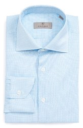 Canali Men's Big And Tall Regular Fit Check Dress Shirt Teal Blue