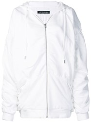 Y Project Ruched Zipped Hoodie White