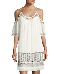 French Connection Island Maze Embellished Dress Off White