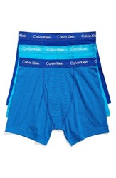 Calvin Klein Men's 3 Pack Boxer Briefs Prussian Paradise Stripe