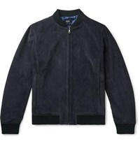 A.P.C. Bryan Suede Bomber Jacket Navy