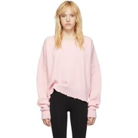 Unravel Pink Ribbed Oversized Crewneck Sweater