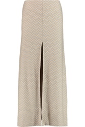 Missoni Crochet Knit Wool Midi Skirt Nude