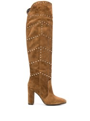 Via Roma 15 Studded Knee High Boots Brown