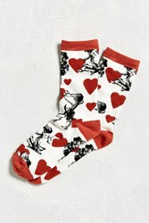 Urban Outfitters Cupid Hearts Sock White