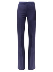 Alexander Mcqueen Satin Trimmed Flared Wool Trousers Dark Blue