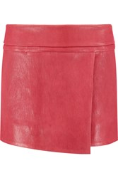 Isabel Marant Demma Asymetric Leather Mini Skirt Red